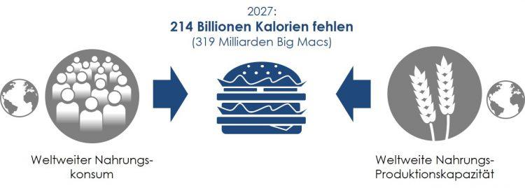 Abbildung 5: Die Weltweite Produktionskapazität für Nahrungsmittel stößt an ein strukturelles Limit (vgl. Menker 2017)